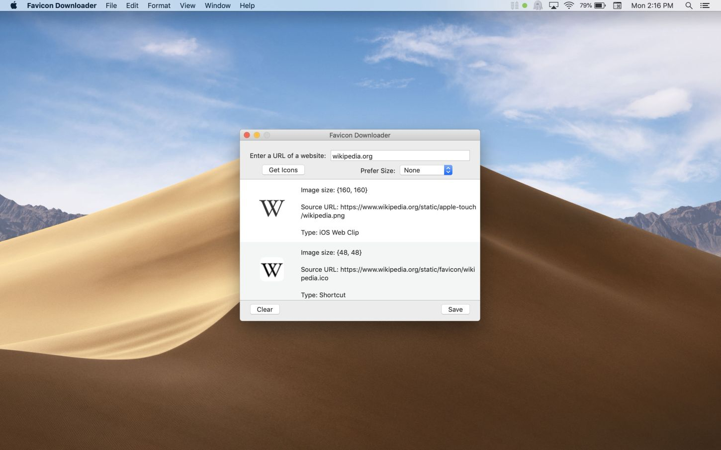 Favicon Downloader Mac app screenshot showing Wikipedia icons.
