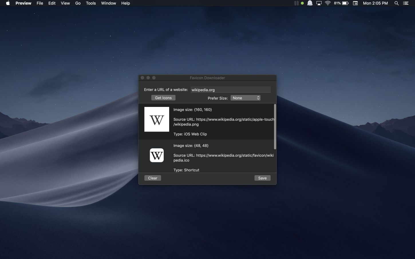 Favicon Downloader Mac app screenshot in dark mode showing Wikipedia icons.