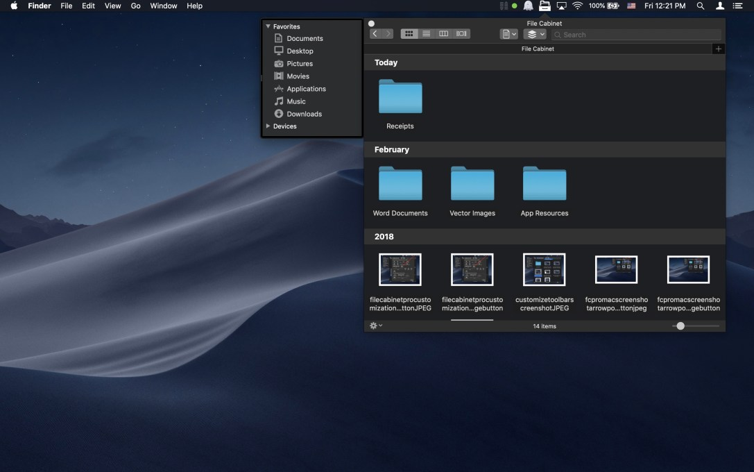 File Cabinet Pro Mac app screenshot showing files organized in groups.