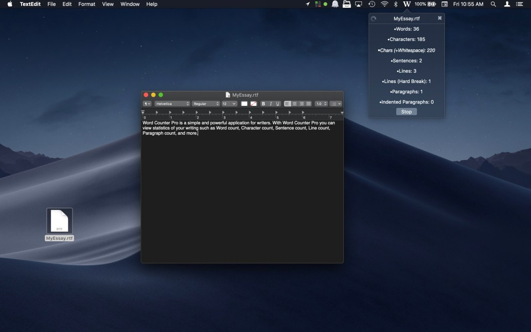 Word Counter Pro Mac app screenshot, watching a text file in dark mode.