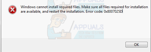 Fix Windows Cannot Install Required Files 0x8007025d