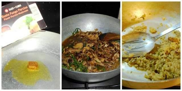 Menu: Riso con funghi, pollo e insalata