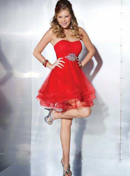 Weddingshe, short red and long black prom dresses for wedding