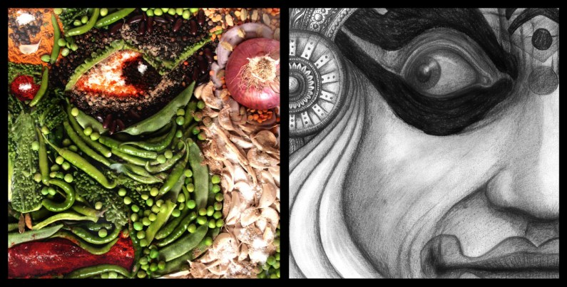 Pacha-kali - Mixed media, mixed vegetables, photography, charcoal