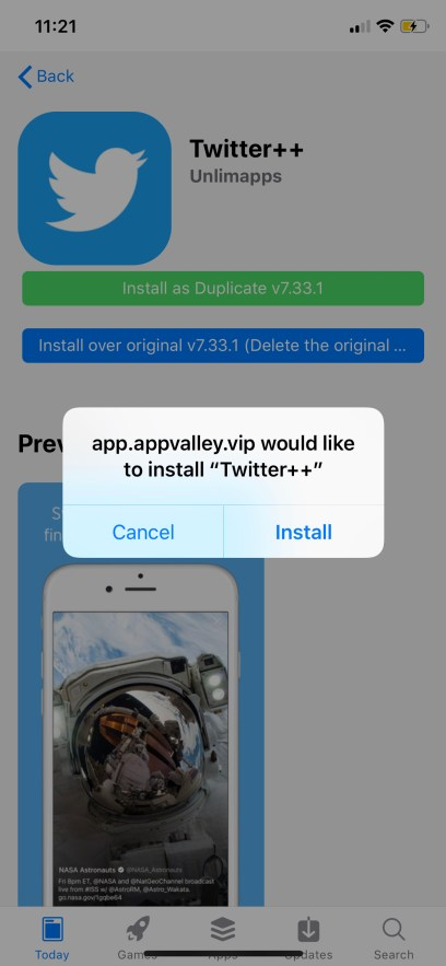 Twitter++ Downloaded & Installed on iOS