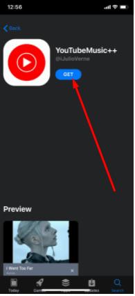 Tap Install YouTubeMusic++ App on iPhone iPad