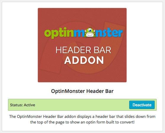 OptinMonster Header Bar Addon