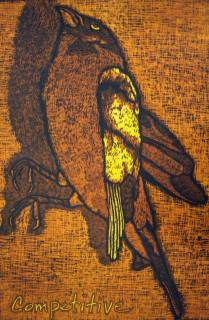 Competitive, 2009; Woodcut; Image: 41 1/4 x 27 inches