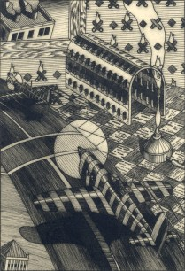 Lunch Break, 1993; Engraving on plexiglass; Image: 14 x 9 3/4 inches