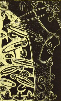 Safety Pins from Grandma, 2005; Linocut; Image: 25 1/2 x 16 1/2 inches