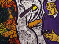 Tending to Gardens Day Three Story One, 2002; Woodcut; Image: 22 x 16 inches