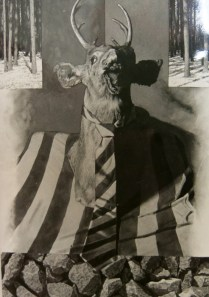 """Black and white photograph of watercolor, """"Hunting Memories"""""""