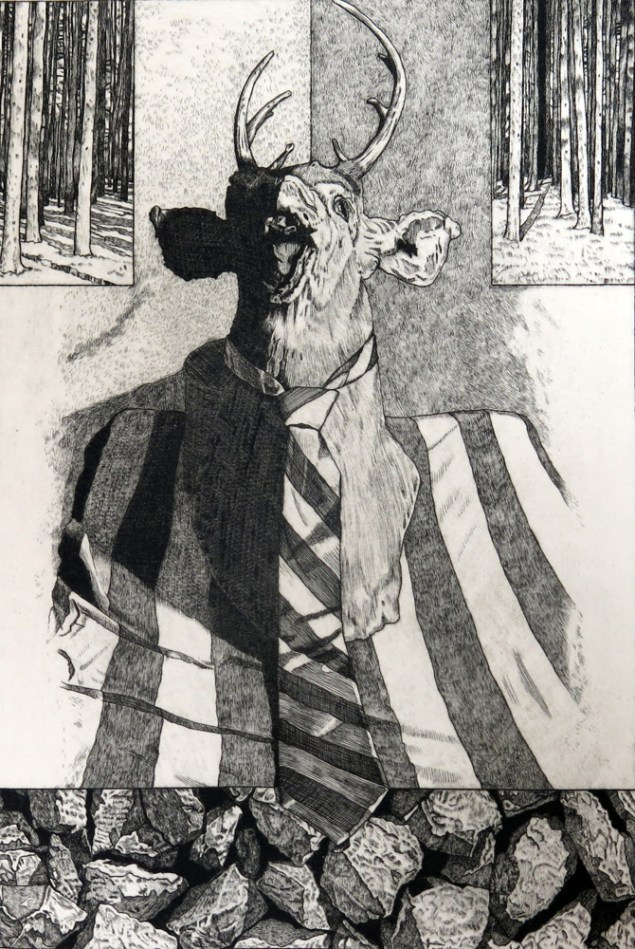 Brian Paulsen (born 1941); Hunting Memories, 2004; Drypoint, engraving; 13 x 8.5 inches