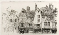 John Taylor Arms (1887-1953); Place Plumereau Tours, 1925; Etching; Image: 1 7/8 x 3 1/8 in.