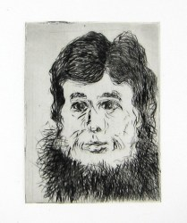 When I Met E.C., 2010; Drypoint; Image: 4 x 3 inches