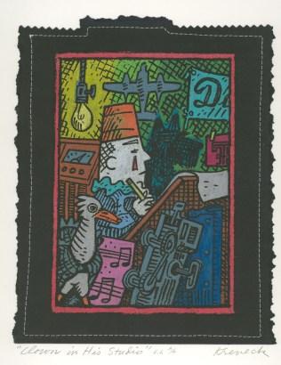 Clown in His Studio, 1993; Monoprint, screen print, hand coloring; Image: 240x185 mm