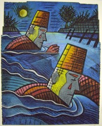 Clowns Swimming by Moonlight, 1995; Screen print, drawing, sewing; Image: 968x775 mm