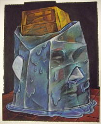 Ice Age Clown Sculpture (Thawing Out), 1997; Screen print, drawing, sewing; Image: 964x772 mm