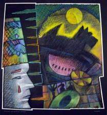 Swimming the Scottish Gambit, 2007; Oil pastel, thread ; Image: 791x748 mm