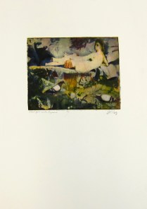 Margaret Craig; Bad Birds: Odalisque with Pigeons, 1996; Photo etching; Image: 174 mm x 221 mm