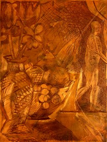 Matrix for Exit Stage Left, 1985; Copper plate (canceled); 305 mm x 227 mm