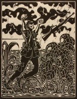 Don R. Schol; Fate from Vietnam Remembrances, 2009; wood relief print; 14x11 inches