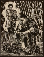 Don R. Schol; Thoughts from Home from Vietnam Remembrances, 2009; wood relief print; 14x11 inches