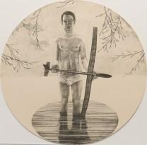 """John Driesbach; Brokenstraw Basin, 2014; Lithograph; Paper size: 370 mm diameter; from the portfolio, """"Mondo Tondo"""""""