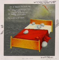 Bed with Heart, from Juarez, 1976; lithograph; image and paper: 320x320 mm