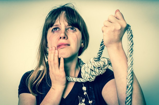 Woman with a noose around her neck - retro style