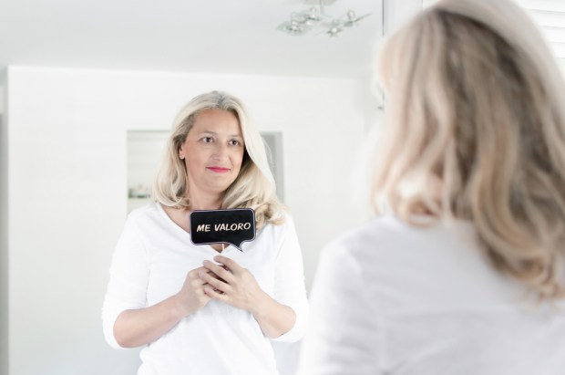 Adult woman with photo prop