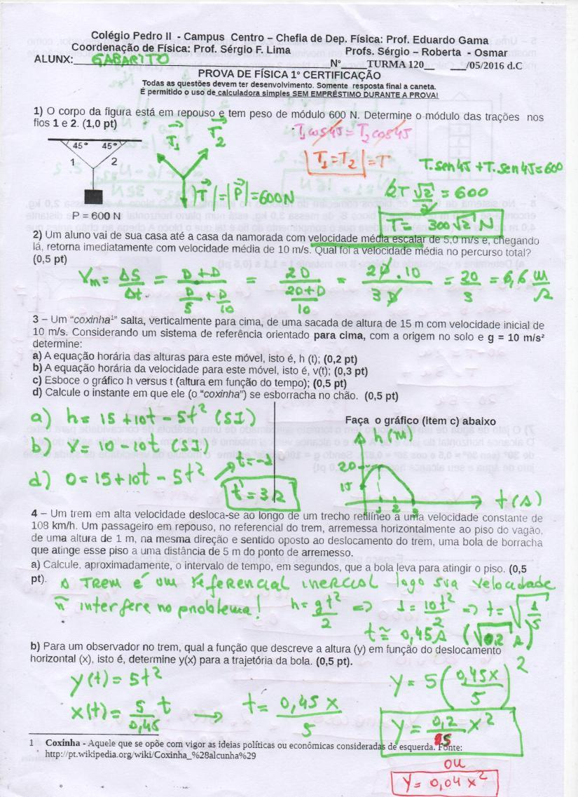 Página 01 gabarito prova de física