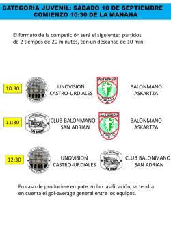 Torneo solidario balonmano femenino a favor de aprendeTEA y APTACAN. Programa Categoría juvenil