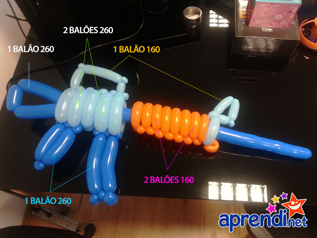 Os tipos de balões distribuídos na modelagem do escultura