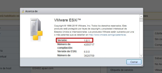 ESXi Embedded Host Client version 1.8.1