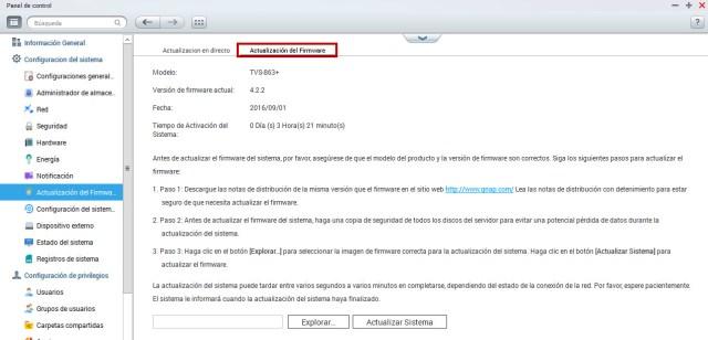 actualizar firmware en qnap manual