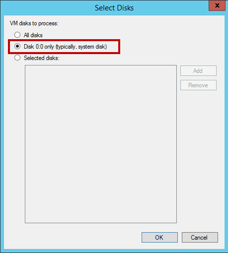 Exclusion de disco en Veeam
