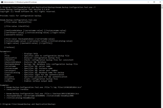 veeam backup configuration tool help