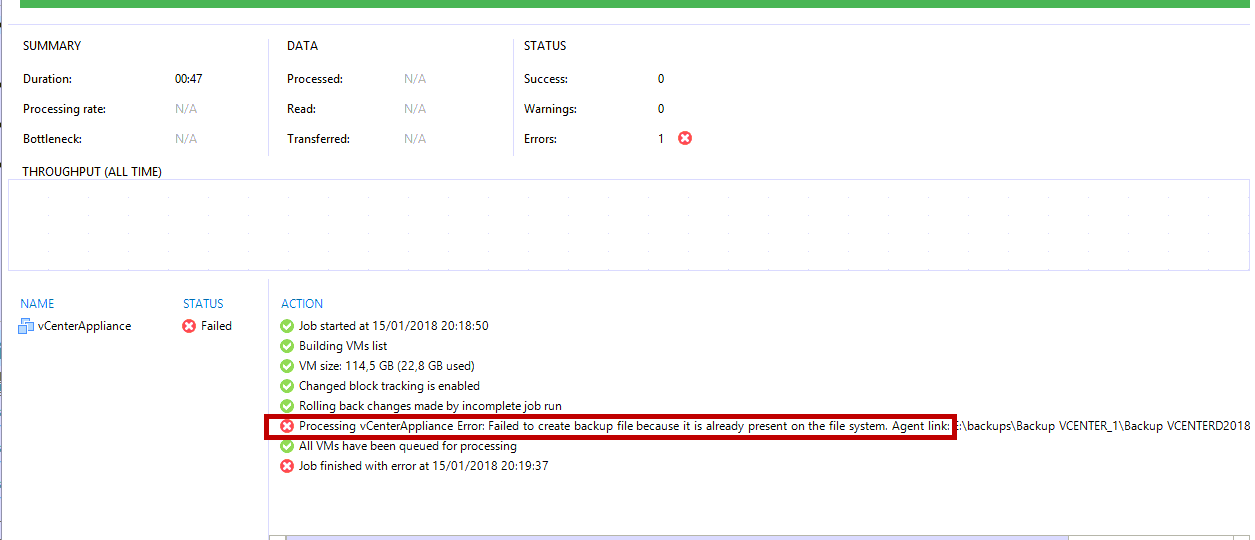 Veeam Backup Failed to create backup file because it is