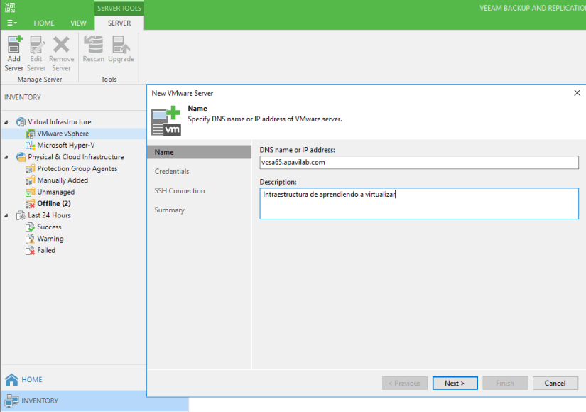 New-Server-vCenter-Veeam-Backup
