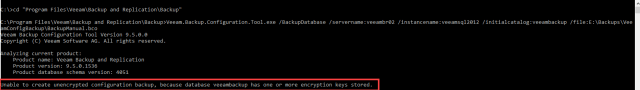 veeam backup configuration tool error