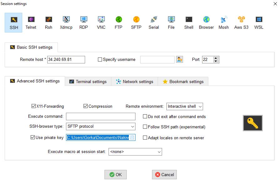 Configurar sesion SSH