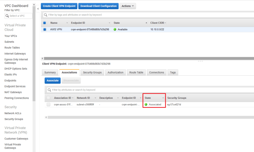 Configurar Client VPN Endpoint en AWS Amazon associated