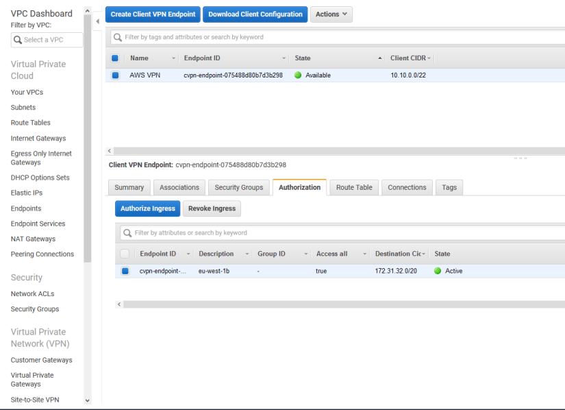 Configurar Client VPN Endpoint en AWS Amazon autorizacion
