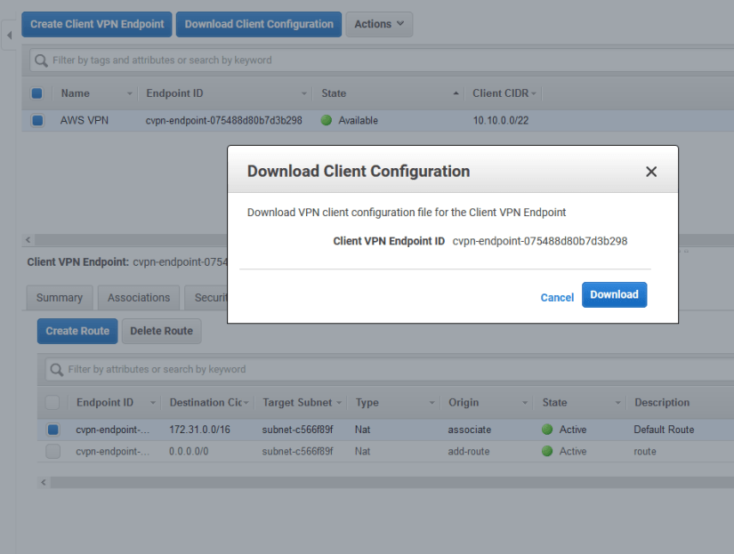 Configurar Client VPN Endpoint en AWS Amazon download ovpn