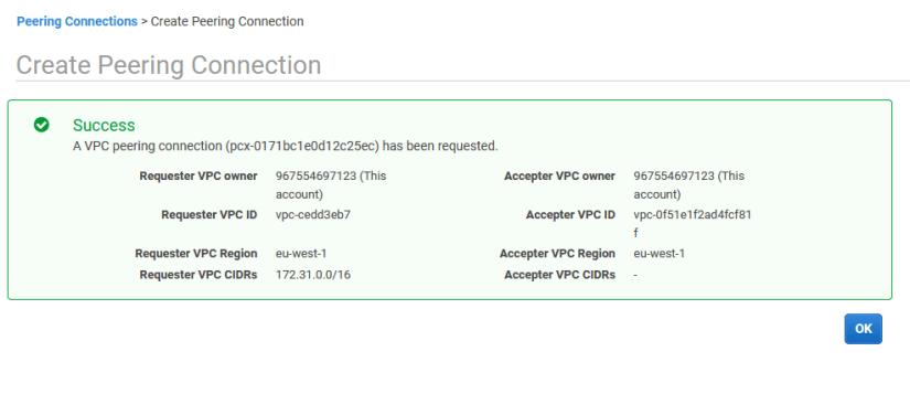 interconexión de VPC peering connection ok