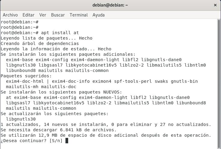 Tareas programadas no persistentes con el comando at install