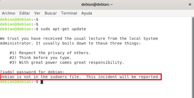 debian user is not in the sudoers file