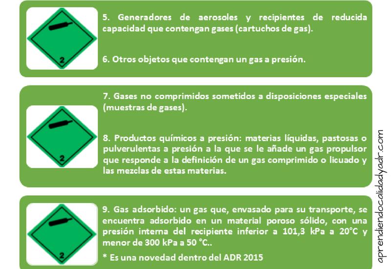 clasificación de mercancías peligrosas clase 2