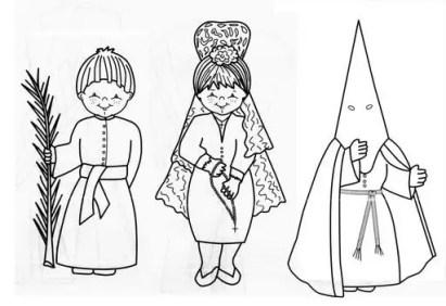 Semana Santa para colorear - Nazareno, mantilla y niño con palma